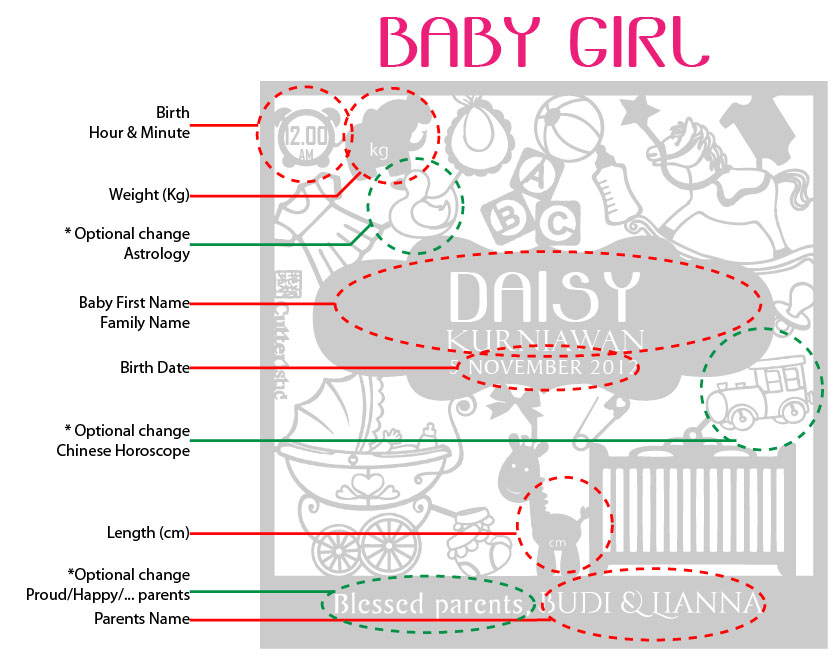 Cutteristic - Baby Announcement Gift Girl guide