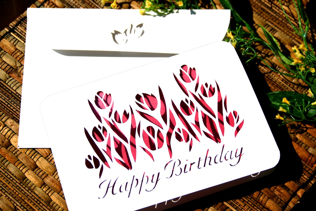 Kartu ulang tahun paper cutting, tulip pink