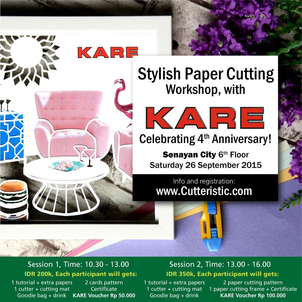 Ikuti workshop paper cutting bersama KARE Indonesia. Kombinasikan kertas berwarna dengan paper cutting untuk lebih menarik