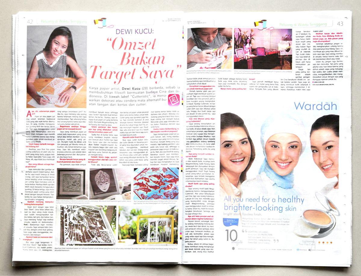Dewi Kucu adalah seniman kertas dengan cutter pertama Indonesia yang memulai Cutteristic sejak 2011