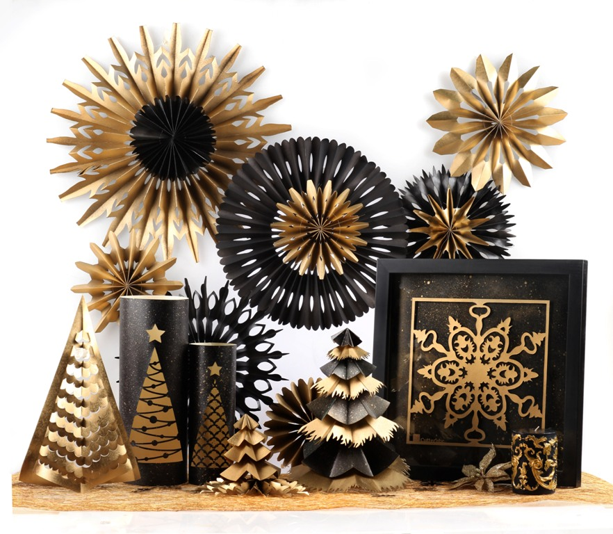 Paper fan gold and black for Christmas decoration